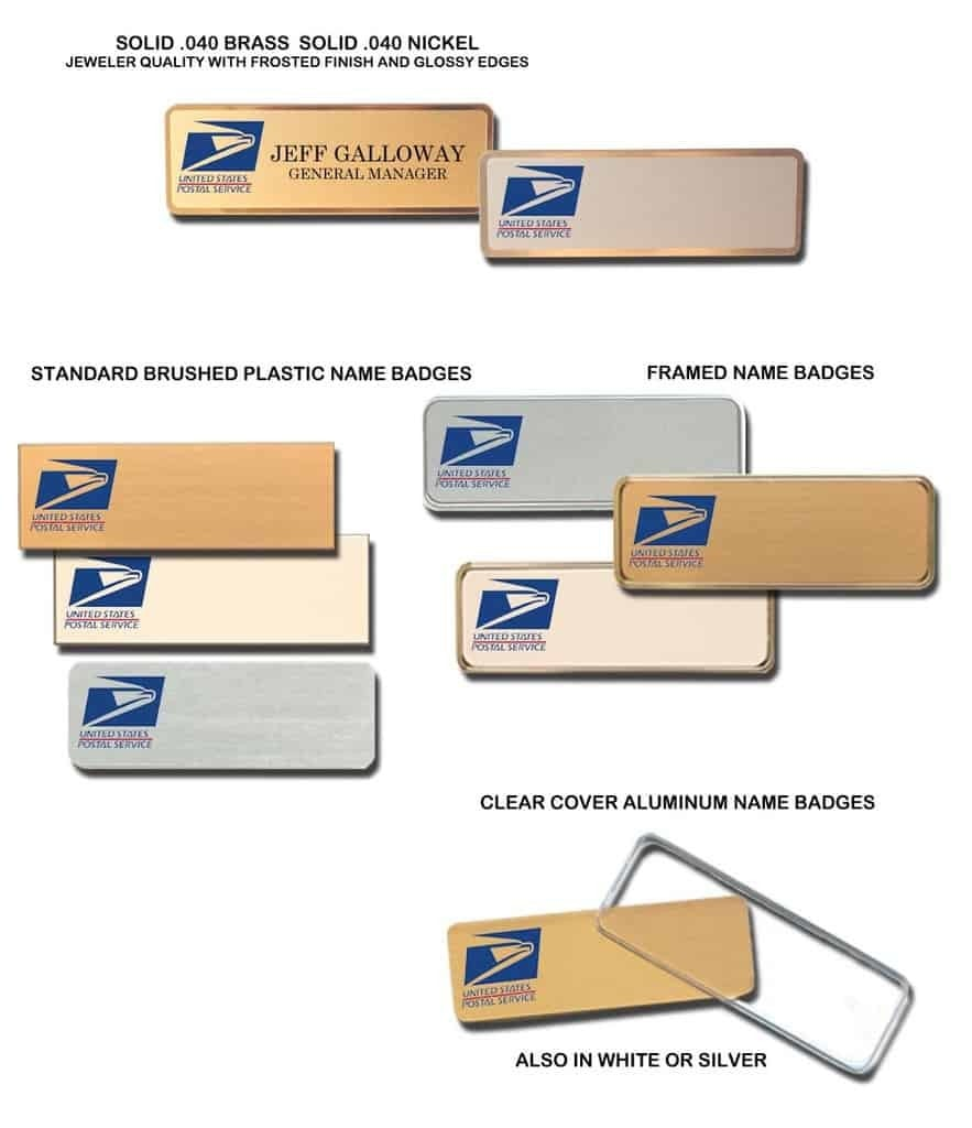 post office name badges