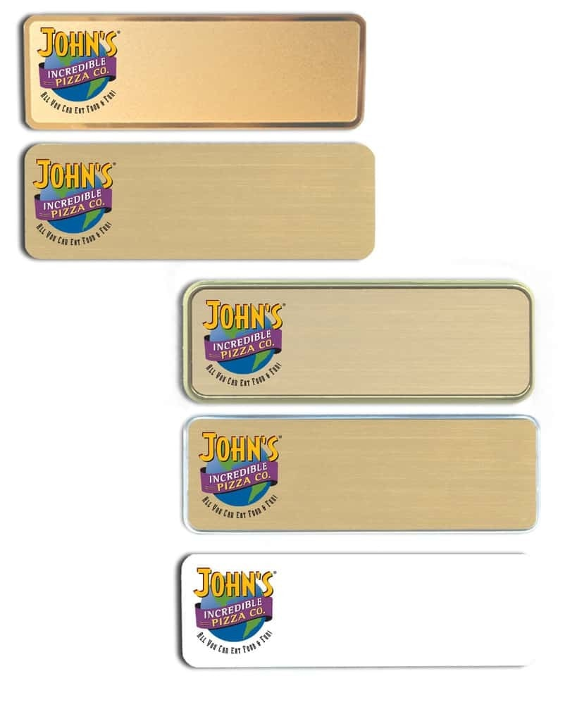 Johns Incredible Pizza Name Tags Badges