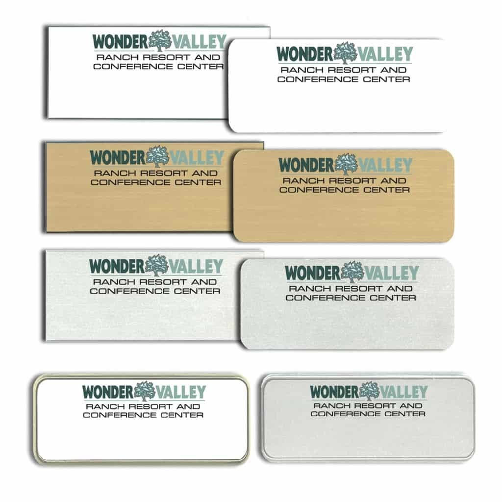 wonder valley ranch resort name tags badges