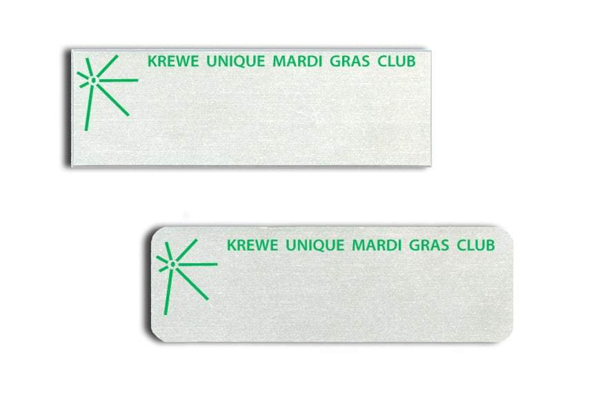 Krewe Unique Mardi Gras Club Name Tags Badges