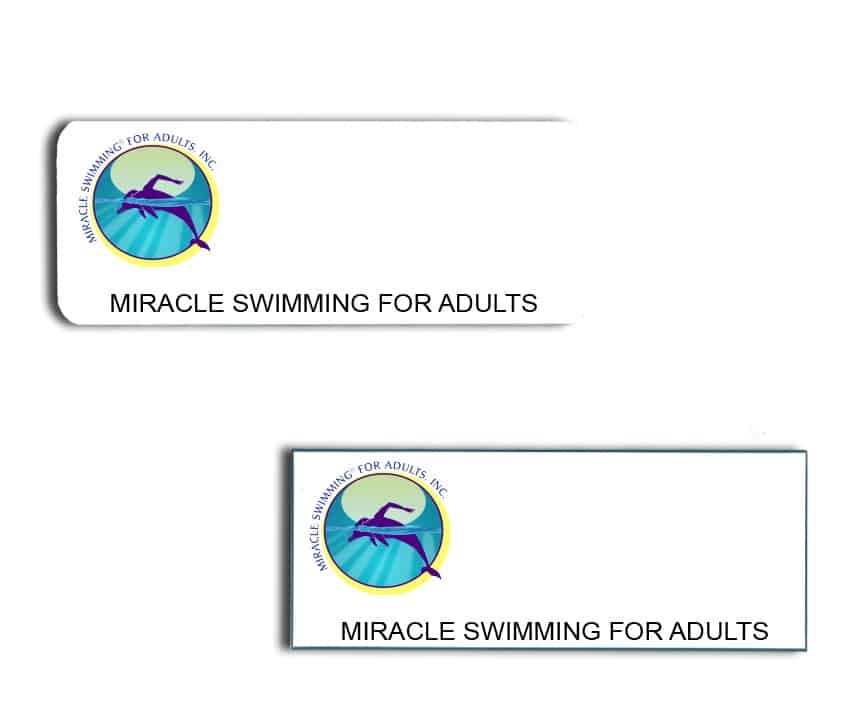 Miracle Swimming name badges