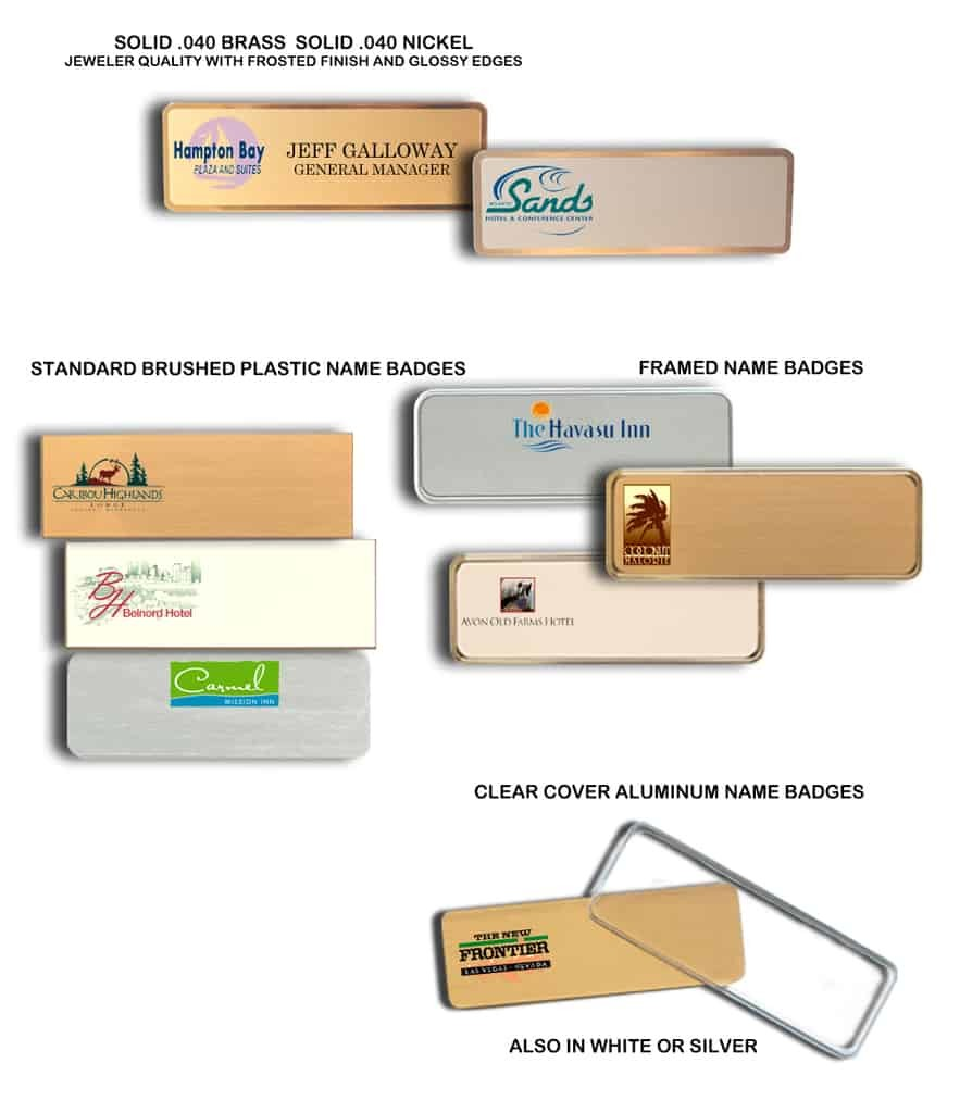 Motel name tags