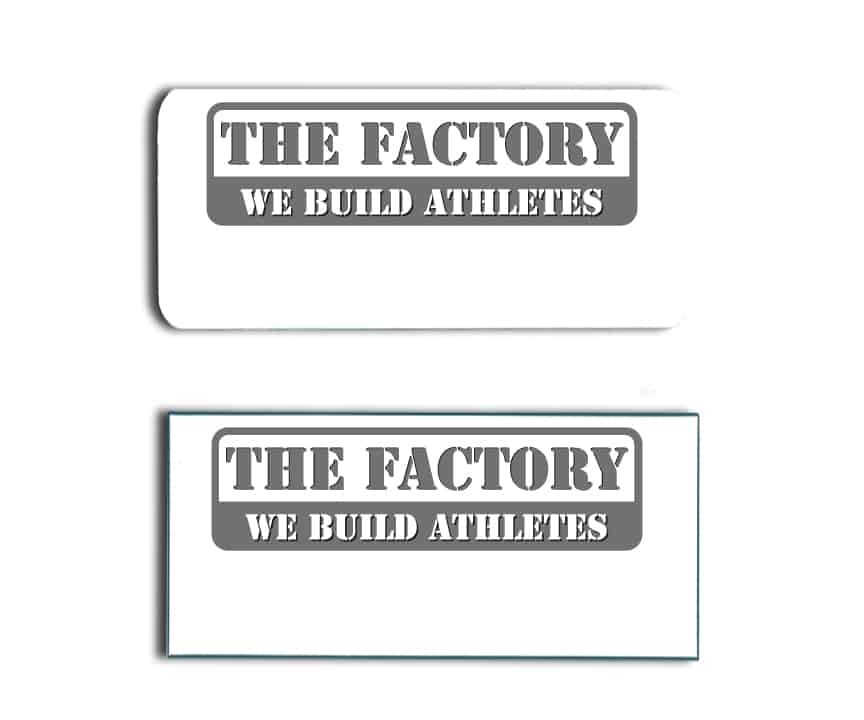 The Factory name badges tags