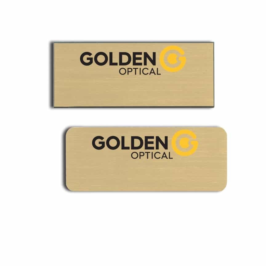 Golden optical name badges